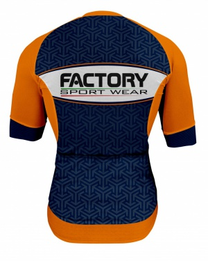 Factory Sport Wear - Cycling - Abigliamento da ciclismo Italia - Maglia Sanremo SF2 Arancio e Blu scuro Dietro