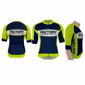 Factory Sport Wear - Cycling - Abigliamento da ciclismo Italia - Maglia Sanremo SF2 Blu scuro e verde fluo